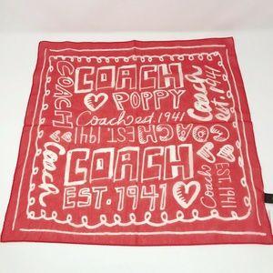 Coach Poppy Label Bandana Square Scarf Cotton Silk